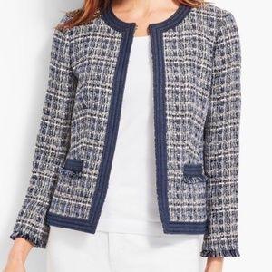 TALBOTS chambray trim tweed blazer 8P
